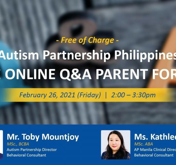 Autism Partnership Live Online Q&A Parent Forum